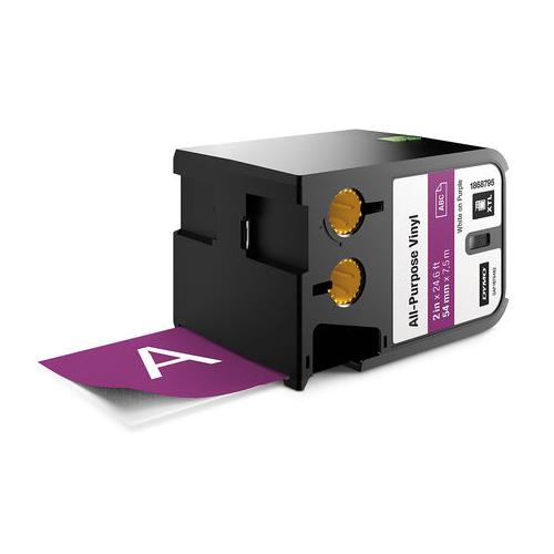 DYMO XTL 54mm White/Purple Vinyl Cont Tape