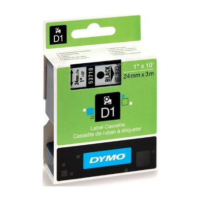 DYMO D1 LABEL CASSETTE 24mm x 7m - BLACK ON CLEAR