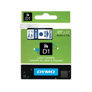 DYMO D1 LABEL CASSETTE 9mm x 7m - BLUE ON WHITE