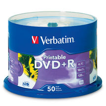 Verbatim DVD+R White Inkjet Printable 50 Pack Spindle 16x