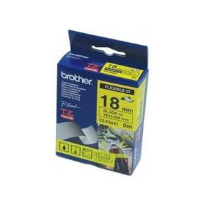 Brother TZ-FX641 Flexible Laminated Black Printing on Yellow Tape (18mm Width 8 Metres in Length)