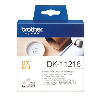 Brother DK-11218 White round die-cut label 24mm diameter 1000 labels per roll