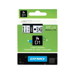 DYMO D1 LABEL CASSETTE 19mm x 7m - BLACK ON WHITE