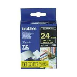 Brother TZ-354 Laminated Gold Printing on Black Tape (24mm Width; 8 Metres in Length)