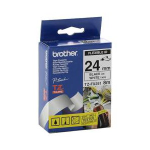 Brother TZ-FX251 Flexible Laminated Black Printing on White Tape (24mm Width, 8 Metres in Length)