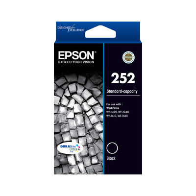 Epson C13T252192 252 Standard Capacity Black Ink Cartridge for WF3620, WF7620 (Yields up to 350 pg)