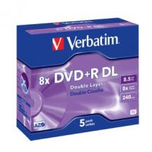 Verbatim DataLifePlus DVD+R DL 8.5GB Jewel Case 5 Pack 8X