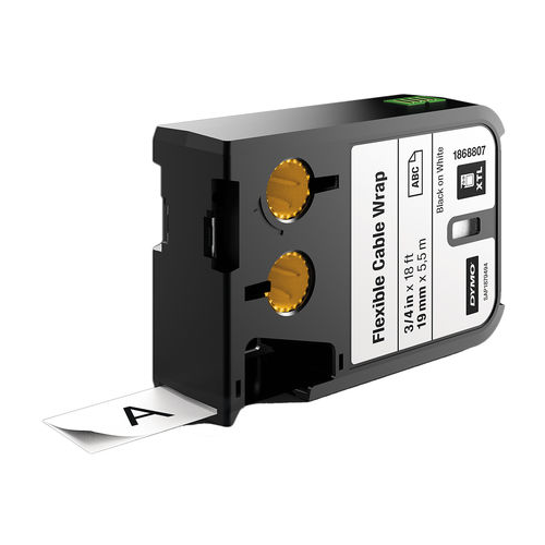 DYMO XTL, 19mm, Black on White Nylon Continuous Tape